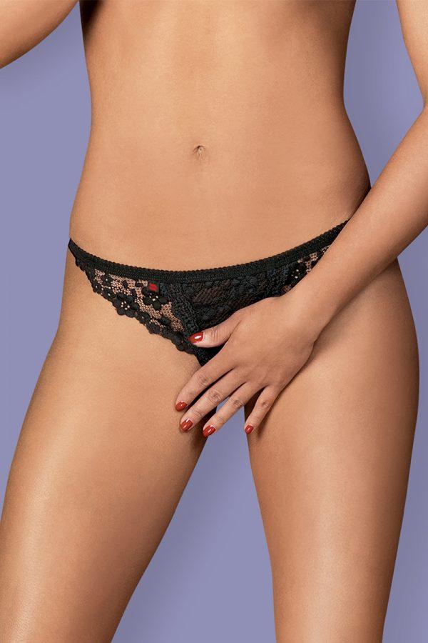 Čierne crotchless tangá Letica