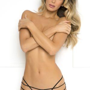 Čierne nohavičky Batting Eyelash Buttless Bikini