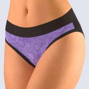 Čierno-fialové klasické nohavičky Gina 10161P