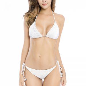 Biele vystužené bikiny Crochet Lace Triangle Bikini