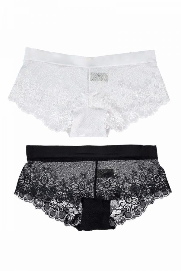 Dámske hipster nohavičky A Touch Of Fused dvojbalenie biela + čierna
