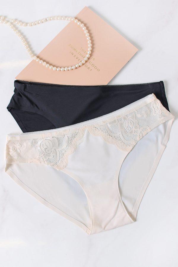 Dvojbalenie nohavičiek Back to the Fused Bikinis - smotanová + čierna