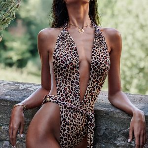 Hnedé leopardie plavky Cancunella