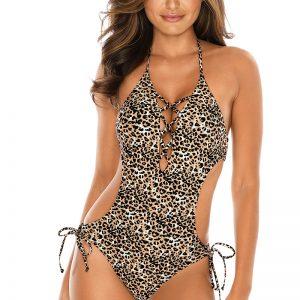 Leopardie vystužené plavky Criss-Cross