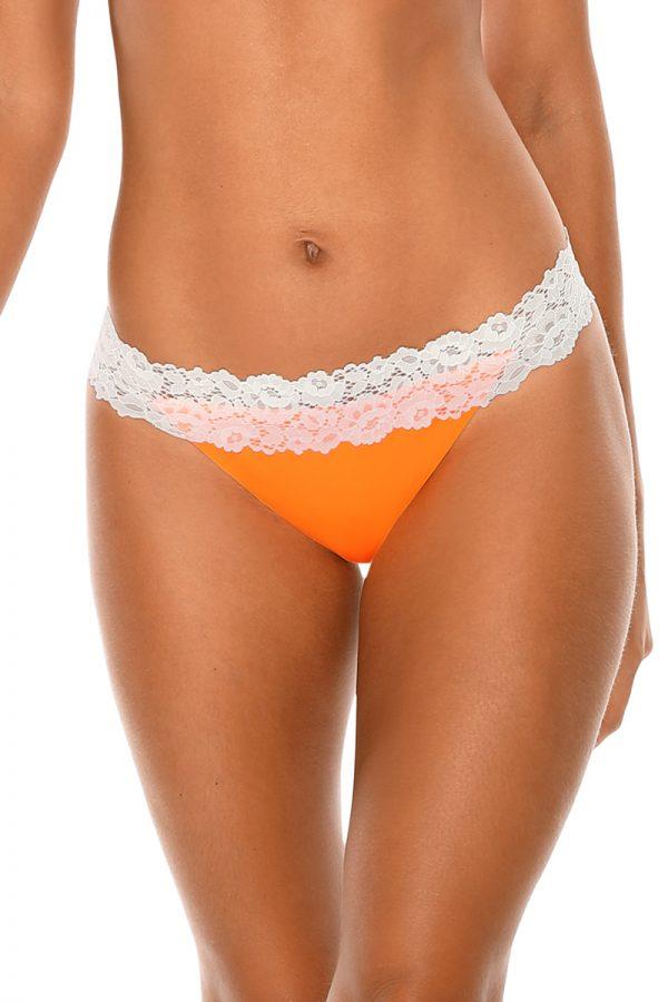Neónovo-oranžové brazílske plavkové nohavičky Lace