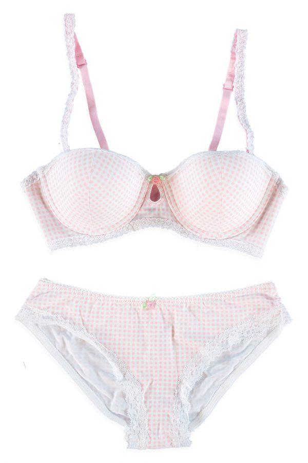 Ružový set balconette podprsenka + nohavičky Seychelles