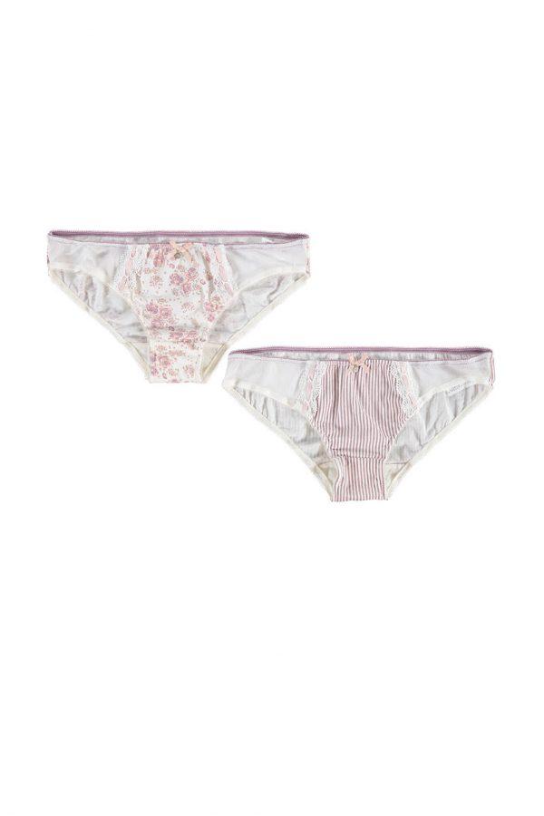 Ružovo-biele nohavičky Anette - dvojbalenie
