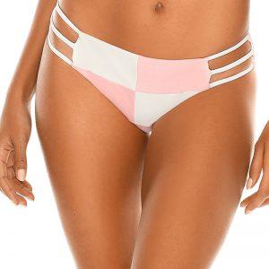 Ružovo-biele semišové plavkové nohavičky Pastels