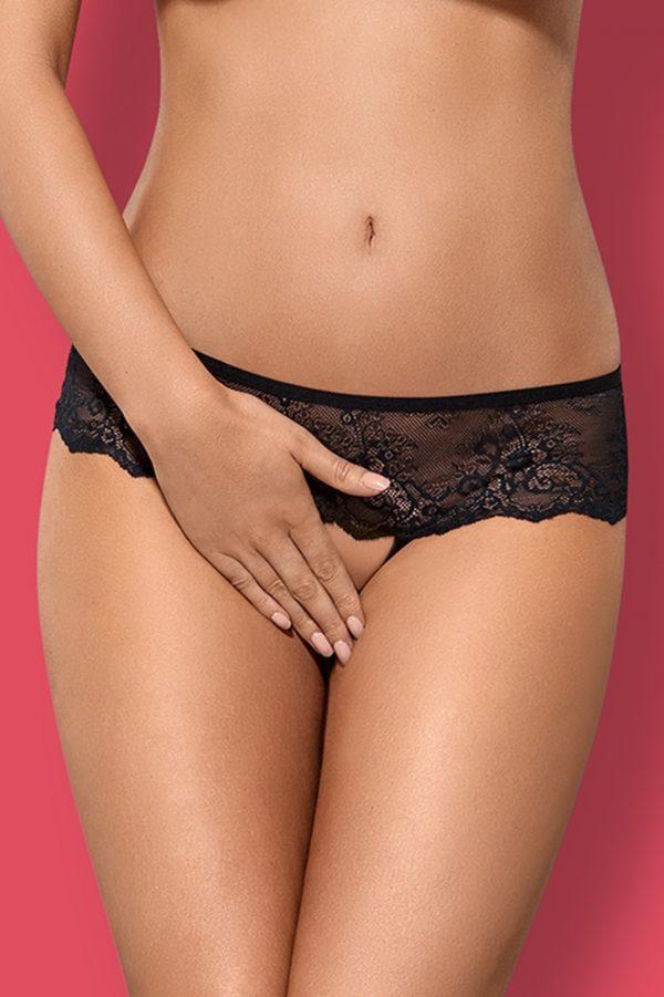 Čierne crotchless nohavičky Merossa
