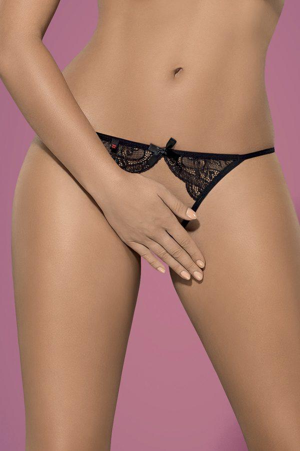 Čierne crotchless nohavičky Miamor