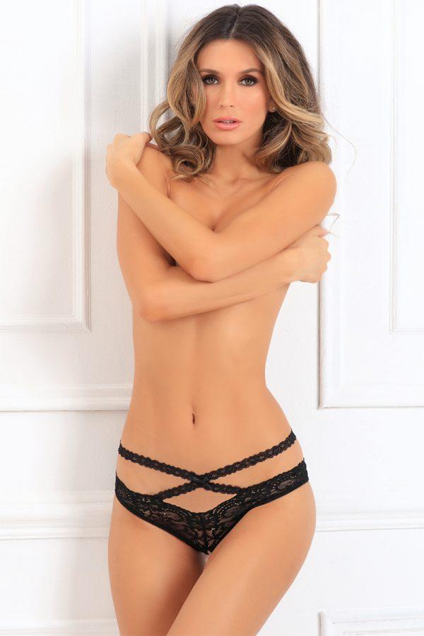 Čierne nohavičky Oh My Lace Crotchless Panty