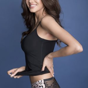 Béžovo-čierne vzorované čipkované brazílske nohavičky Tanga Panty