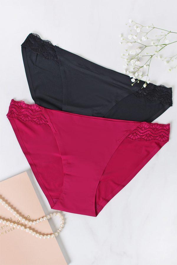 Dvojbalenie nohavičiek Smooth Limits Bikinis - fuchsiová + čierna
