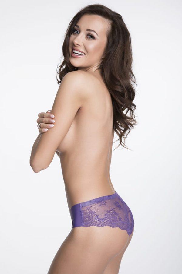 Fialové čipkované brazílske nohavičky Tanga Panty