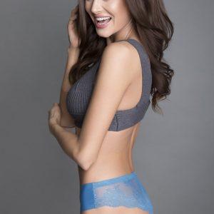 Modré čipkované brazílske nohavičky Tanga Panty