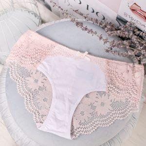Ružovo-biele čipkované nohavičky About Lace Hipster
