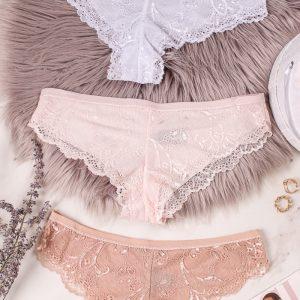 Trojbalenie čipkovaných brazílskych nohavičiek Red Carpet Ready - ružová + biela + béžová