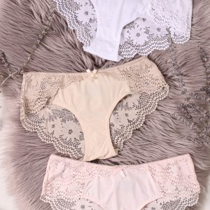 Trojbalenie čipkovaných nohavičiek About Lace Hipsters - béžová + ružová + biela