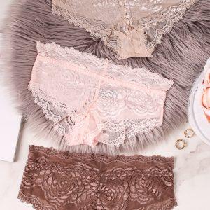 Trojbalenie čipkovaných nohavičiek Marla Hipsters - hnedá + ružová + béžová