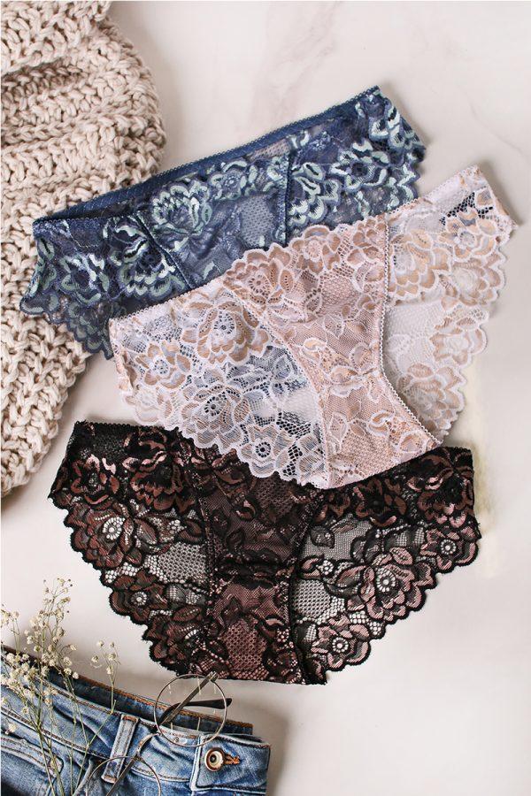 Trojbalenie nohavičiek Head To Toe Bikinis - modrá + béžová + čierna
