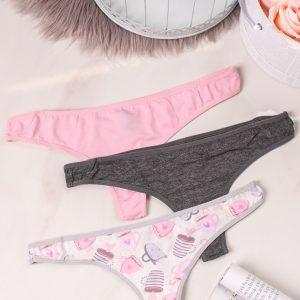 Trojbalenie tango nohavičiek Cotton Spandex Thongs - smotanová + ružová + sivá