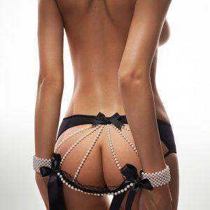 Čierne nohavičky s perlami Pearls Of Love 01