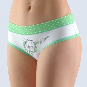 Bielo-zelené vzorované francúzske nohavičky 14135