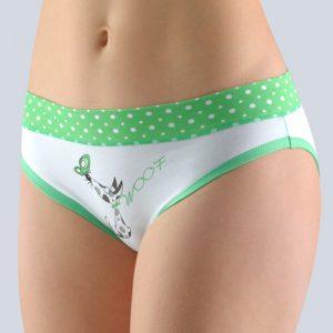 Bielo-zelené vzorované nohavičky so širokým bokom 16121