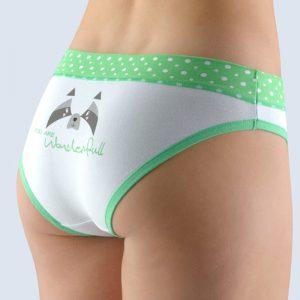 Bielo-zelené vzorované nohavičky so širokým bokom 16122