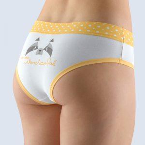 Bielo-žlté vzorované francúzske nohavičky 14137