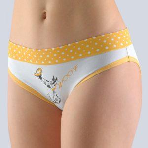 Bielo-žlté vzorované nohavičky so širokým bokom 16121