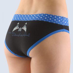 Čierno-modré vzorované nohavičky so širokým bokom 16122