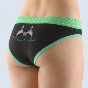 Čierno-zelené vzorované nohavičky so širokým bokom 16122