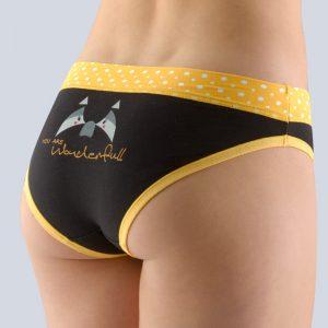 Čierno-žlté vzorované nohavičky so širokým bokom 16122