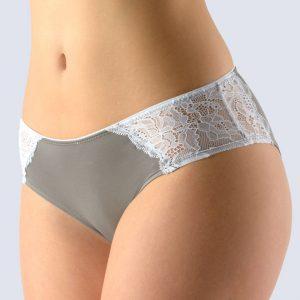 Sivo-biele francúzske nohavičky s čipkou 14138