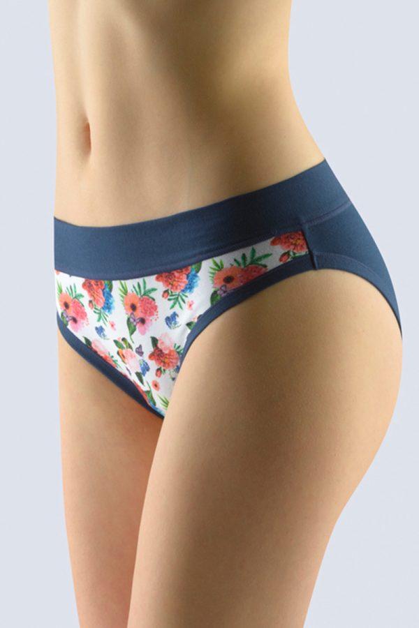 Tmavomodré kvetované nohavičky 16135