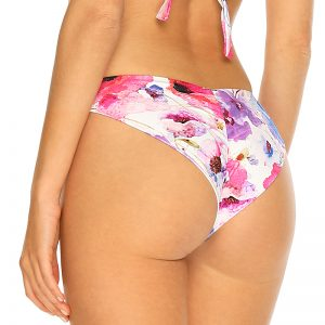 Fuchsiovo-fialové kvetované plavkové brazílske nohavičky Poppy