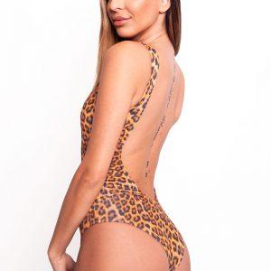 Hnedé leopardie jednodielne plavky Leopard