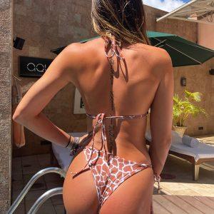 Hnedo-smotanové plavkové brazílske nohavičky Giraffe