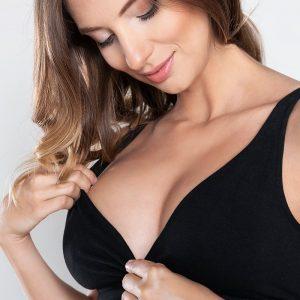 Čierna tehotenská bavlnená podprsenka Lux