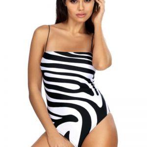 Čierno-biele jednodielne plavky Linda