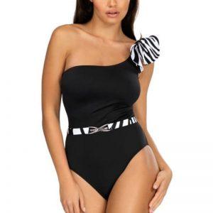 Čierno-biele jednodielne plavky Nysa