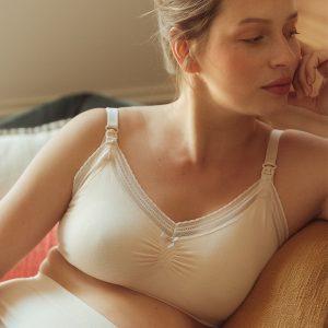 Svetlobéžová tehotenská podprsenka Milk