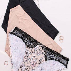 Trojbalenie nohavičiek s čipkou The Angelina - čierna + béžová + kvetovaná