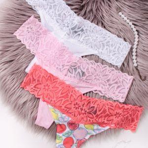 Trojbalenie tango nohavičiek Read My Lips - biela + ružová + koralová