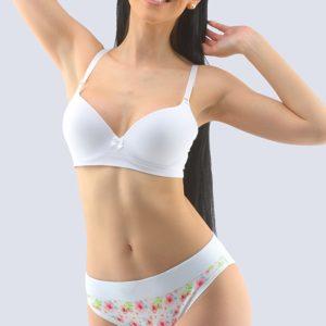 Biele kvetované bavlnené nohavičky 16147P