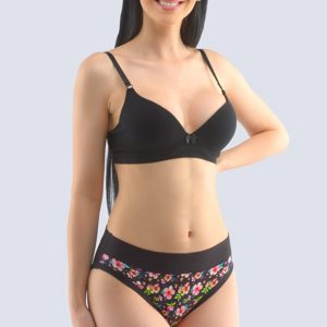 Čierne kvetované bavlnené nohavičky 10245P