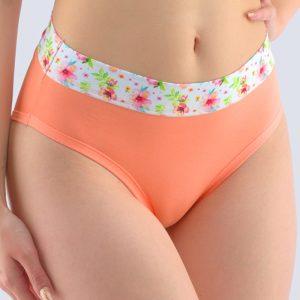 Oranžové kvetované bavlnené nohavičky 10243P