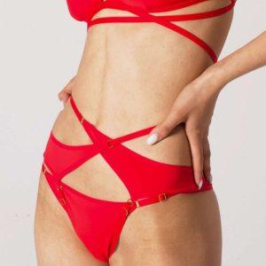 Červené nohavičkové harness ramienka Flavia